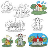 Hand drawing houses Royalty Free Stock Images