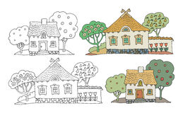 Hand drawing houses Royalty Free Stock Photography