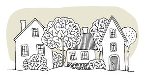 Hand drawing houses Royalty Free Stock Photo