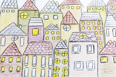 Hand drawing houses Royalty Free Stock Photos