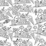 Hand drawing ice cream and cocktails  doodles pattern Royalty Free Stock Image
