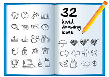 Hand drawing icon on a big book with a pencil. Royalty Free Stock Images