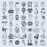 49 hand drawing icon set. 49 hand drawing doodle icon set, vector illustration royalty free illustration