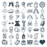 49 hand drawing icon set. 49 hand drawing doodle icon set , vector illustration royalty free illustration
