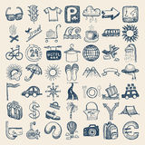 49 hand drawing icon set, travel theme. 49 hand drawing doodle icon set, travel theme royalty free illustration