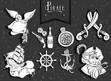 Hand drawing icons set and silhouette pirate adventure Royalty Free Stock Images