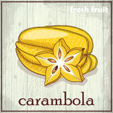 Hand drawing illustration of carambola. Fresh fruit sketch background Royalty Free Stock Image