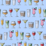 Hand drawing. Illustration cocktails. Seamless pattern. Royalty Free Stock Images
