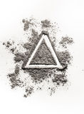 Hand drawing illustration concept triangle shape in ash, dust, d Stock Photography