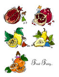 Hand drawing. Illustration of fruits and fruit fairy. Seamless pattern. Royalty Free Stock Photos