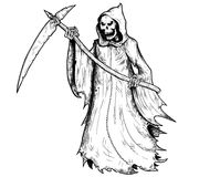 Hand Drawing Illustration of Halloween Grim Reaper. Human skeleton with scythe, personification of death Stock Image