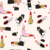 Hand drawing illustration with lipstick. Vector seamless pattern. Royalty Free Stock Photography