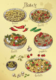 Hand drawing illustration with set of pasta and vegetables Royalty Free Stock Photos