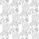 Hand drawing. Illustration of tropical cocktail with umbrella. Seamless pattern. Postcard black and white. Royalty Free Stock Images