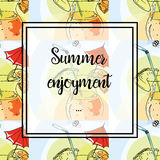 Hand drawing. Illustration of tropical cocktail with umbrella. Seamless pattern. Postcard Summer enjoyment. Hand drawing. Illustration of tropical cocktail with Royalty Free Stock Photos