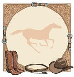 Cowboy horse equine riding tack tool in the western leather belt frame. Western boot, hat, lasso rope and galloping horse. Royalty Free Stock Photos