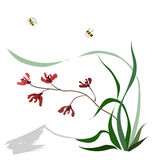 Hand-drawing ink illustration. Wild orchid. Japanese painting style sumi-e. Traditional Chinese painting gohua. Vector Royalty Free Stock Photo