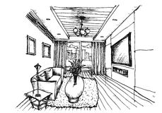 Hand Drawing Interior Design For Living Room Royalty Free Stock Photography