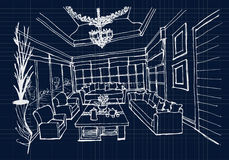 Hand Drawing Interior Design For Living Room On Blue Print Background Stock Photo