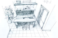 Hand drawing interior Stock Images