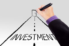 Hand drawing an investment door Stock Photo