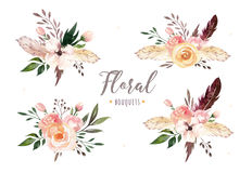 Hand drawing isolated boho watercolor floral illustration with leaves, branches, flowers. Bohemian greenery art in Royalty Free Stock Photos