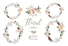 Hand drawing isolated boho watercolor floral illustration with leaves, branches, flowers. Bohemian greenery art in Stock Photos