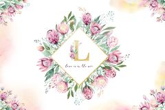 Hand drawing isolated watercolor floral frame with protea rose, leaves, branches and flowers. Bohemian gold crystal. Hand drawing isolated watercolor floral stock images