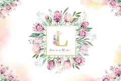 Hand drawing isolated watercolor floral frame with protea rose, leaves, branches and flowers. Bohemian gold crystal. Hand drawing isolated watercolor floral stock photos