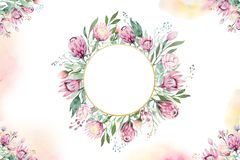 Hand drawing isolated watercolor floral frame with protea rose, leaves, branches and flowers. Bohemian gold crystal. Hand drawing isolated watercolor floral stock photography