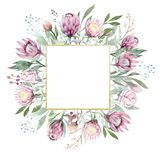 Hand drawing isolated watercolor floral frame with protea rose, leaves, branches and flowers. Bohemian gold crystal royalty free stock image