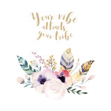 Hand drawing isolated watercolor floral illustration with leaves, branches, flowers and feathers. indigo Watercolour art Royalty Free Stock Images