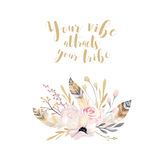 Hand drawing isolated watercolor floral illustration with leaves, branches, flowers and feathers. indigo Watercolour art Stock Photography