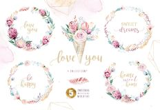 Hand drawing isolated watercolor floral illustration with protea rose, leaves, branches and flowers. Bohemian gold Royalty Free Stock Photography