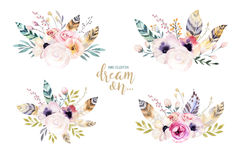 Free Hand Drawing Isolated Watercolor Floral Illustration With Leaves, Branches, Flowers And Feathers. Indigo Watercolour Art Stock Image - 97685901