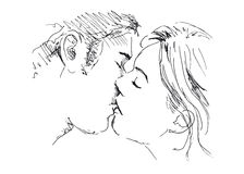 Hand drawing kiss. Vector illustration Stock Images