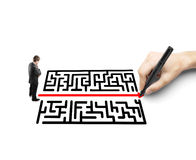 Hand drawing a labyrinth Royalty Free Stock Images