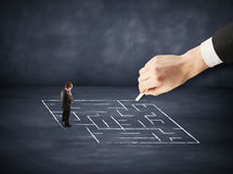 Hand drawing labyrinth Stock Photography