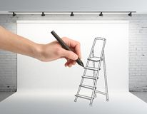 Hand drawing ladder Stock Images