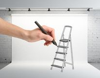 Hand drawing ladder Royalty Free Stock Photography