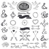 Hand drawing lettering ampersands set. Wedding Stock Photo
