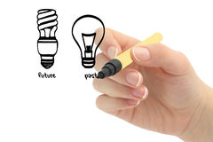 Hand drawing light bulb Royalty Free Stock Image