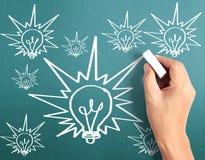 Hand drawing  light bulb Stock Photography