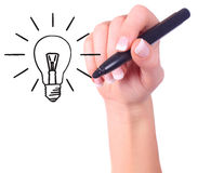 Hand drawing light bulb Royalty Free Stock Photography