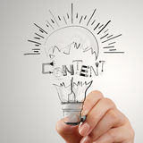 Hand drawing light bulb and CONTENT Royalty Free Stock Image