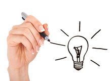 Hand drawing light bulb Stock Images