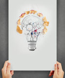 Hand drawing light bulb with pencil saw dust and gears icon Royalty Free Stock Images