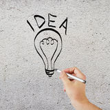 Hand drawing lightbulb Royalty Free Stock Photography