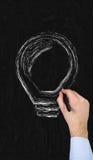 Hand drawing lightbulb Royalty Free Stock Photos