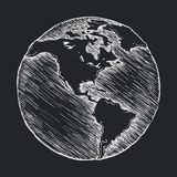 Hand drawing line icon. Globe outline drawing Stock Images
